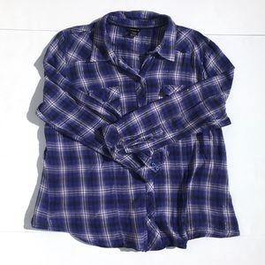 Torrid Purple Plaid Flannel Button Up sz 1X